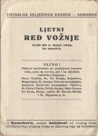 Timetable Red Voznje Railway Zagreb - Samobor 1940 - Europe
