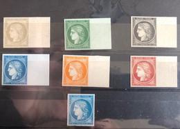 N°1 à 6 Et N°8 Réimpressions Modernes Réalisées à Partir Des Planches D'origine (case Repérée Au Verso) - 1849-1850 Cérès