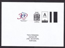 UK: Airmail Cover To Portugal, 2004, Self-printed Computer Meter Cancel, Gibraltar Anniversary, Rare (very Small Stain) - Covers & Documents