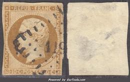 *RARE* 10c République Bistre-jaune Oblitéré PC à -35€  (Y&T N ° 9, Cote 850€) - 1852 Luigi-Napoleone