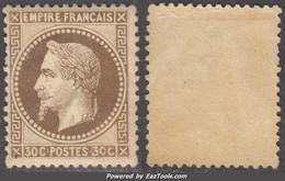 *RARE* 30c Napoléon Lauré Neuf * TB (Y&T N° 30, Cote 1200€) - 1863-1870 Napoléon III. Laure