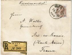 CTN67/ETR/2 - EMPIRE AUTRICHIEN -  LETTRE RCOMMANDEE WIEN / ARC EN BARROIS 13/6/1899 - Brieven En Documenten