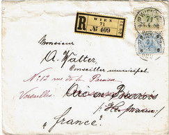 CTN67/ETR/2 - EMPIRE AUTRICHIEN -  LETTRE RCOMMANDEE WIEN / ARC EN BARROIS 24/4/1898 ROUTEE - Brieven En Documenten