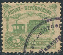 Germany 1888 Hamburg Privat-Beförderung 5 Pf. Perf.11½ Private Local Post STEAM TRAM Tramway DAMPF-STRAßENBAHN Stadtpost - Tramways