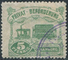 Germany 1888 Hamburg Privat-Beförderung 5 Pf. Perf.14½ Private Local Post STEAM TRAM Tramway DAMPF-STRAßENBAHN Stadtpost - Tramways
