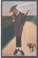 1917 Illustratore GRANDE 916- Caricatura Uomo Con Cane Viaggiata N° 195-1 - Sin Clasificación
