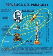 Paraguay 1974 Kurt Debus Ingénieur Engineer Apollo XI LEM, Rocket Saturne, Mariner Satellite   (Mi B 337, Scott C 405) - Unclassified