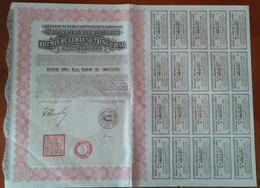 Gouvernement De La République Chinoise. Bon Du Trésor 8% 1925 ;Chemin De Fer LUNG-TSING-U-HAÏ ; Bon De 500 Frs N°007,757 - Railway & Tramway