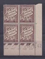 TAXE N° 29 - Bloc De 4 COIN DATE - NEUF SANS CHARNIERE - 17/1/42 - 1 Point - Portomarken