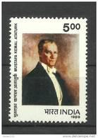 INDIA, 1989, Mustafa Kamal Ataturk, 1st President Of Turkey, Freemasonry, Famous People,   MNH, (**) - Nuovi