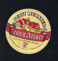 étiquette Fromage Petit Munster  Jean D'Alsace 50%mg 125g Rentz Laiterie De La Cense Xertigny Vosges 88 - Cheese