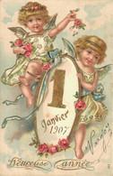 H1403 - 1 Janvier 1907 - HEUREUSE ANNEE - Carte Gaufrée - New Year