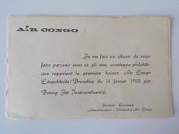 1963 Compagnie Aérienne Air Congo Léopoldville Bruxelles Boeing Jet International Carte D' Accompagnement Timbres - Belgian Congo - Other