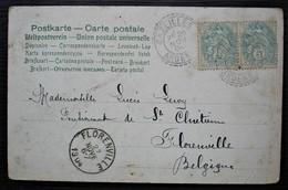 Bazeilles Ardennes 1904 Cachet Tireté Sur Paire De 5c Carte Pour Florenville Belgique - 1877-1920: Periodo Semi Moderno