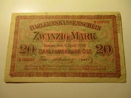 GERMANY  LATVIA  LITHUANIA  KOWNO 1918  20 MARK  BANKNOTE - 1° Guerra Mondiale
