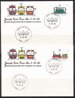 Belgique: 1985  Timbres  2170/73 FDC; Journée Train, Tram, Bus - 1971-80