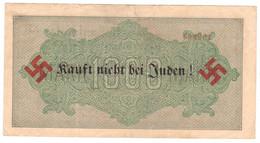 "WW2 Germany Nazi ""Kauft Nicht Bei J..."" Propaganda FORGERY Overprint On Genuine 1000 Mark 1923 Banknote VF - Other"