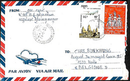 Cambodge- Kampuchea. L. Phnom Penh > Halle Belgique  28/1/91 - Kampuchea