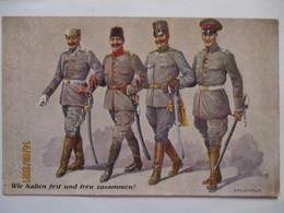 Deutschland Österreich Türkei, Wir Halten Fest Und Treu Zusammen (71585) - Guerra 1914-18