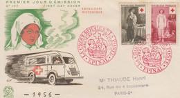 Enveloppe  FDC   1er Jour   FRANCE    Paire  CROIX  ROUGE   EPINAL   1956 - 1950-1959
