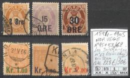 [858357]TB//O/Used-c:228e-Norvège 1894-1905 - N° 45+58/62, Les Surchargés N° 62 (coin Coupé) Voir Scan - Used Stamps