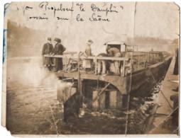 C.1900 ? Bateau Petite Péniche Propulseur  LE DAUPHIN Sur La Saone  Photo  9X11.5cm - En Bois - ETAT ! - Old (before 1900)