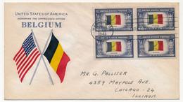 USA / BELGIQUE - Enveloppe FDC Honneur à La Nation Oppressée BELGIQUE - 1943 - Bloc De Quatre - WW2 (II Guerra Mundial)