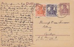 Deutsches Reich Uprated Postal Stationery Ganzsache Germania REMPLIN 1920 Baronesse C. Von TORNOW, Ibsensvej HELLERUP - Stamped Stationery