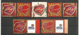 Coeurs De Jean-Louis Scherrer.   7 Timbres Neufs ** , Inclus Autocollants Et Personnalisés.  Cote 26,00 Euro - Unused Stamps