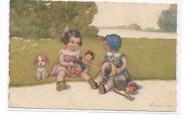 CARD COLOMBO BIMBA GIOCA CON PALLA ALTRA BIMBA GIOCA CON BAMBOLA GIAPPONESE CANE PENSOSO 1932 -FP-V-2 -0882-29924 - Colombo, E.