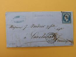 EMPIRE NON DENTELE 14 SUR LETTRE DE LA ROCHELLE A LAVELANET DU 5 NOVEMBRE 1861 (AMBULANT LA R P) - 1849-1876: Classic Period