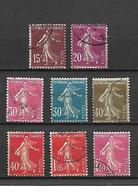 1625 LOT De 8 Timbres Type Semeuse Fond Plein YT 189-190-191-192-193-194-195-196 Oblitérés - Used Stamps