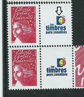 [46] Variété : Timbres Personnalisés N° 3587A Marianne De Briat Vignette Bleue Au Lieu De Violette + Normal ** - Varieties: 2000-09 Mint/hinged