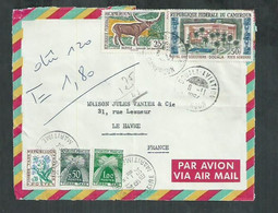 Devant De Lettre Du Cameroun Pour Le Havre (Seine Maritime) Taxée 1.80F ;mixte  Gerbes Et Fleurs - 1960-.... Covers & Documents