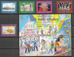TRINIDAD AND TOBAGO, 2020, MNH, INDIAN INFLUENCE, FOOD,  COSTUMES, DANCING, TEMPLES, MUSIC, CULTURES, 5v+S/SHEET - Danse