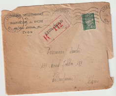 4145 Lettre + CORRESPONDANCE 1944 Timbre PETAIN WW2 Recommandé Pharmacie Pharmaciens Villeurbanne PAUCHE SUCRE - 1921-1960: Modern Tijdperk