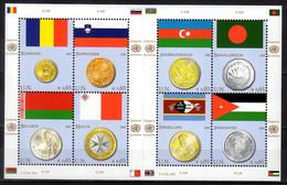 2010 UN Office Vienna Flags And Coins Issue IV Sheetlet MNH** MiNr. 626 - 633 Slowenia, Romania, Malta, Swazilend Jordan - Nuevos
