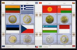 2011 UN Office Vienna Flags And Coins Issue V Sheetlet MNH** MiNr. 691 - 698 Lithuania, Greece, Estonia Czechia Monaco - Nuevos