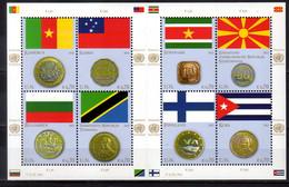 2012 UN Office Vienna Flags And Coins Issue VI Sheetlet MNH** MiNr. 738 - 745 Samoa Finalnd Cuba Bulgaria Surinam Tansan - Nuevos