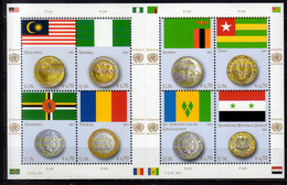 2013 UN Office Vienna Flags And Coins Issue VII Sheetlet MNH** MiNr. 798 - 805 Malaysia, Nigeria, Dminica, Sambia,Togo - Nuevos