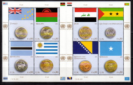2015 UN Office Vienna Flags And Coins Issue VIII Sheetlet MNH** MiNr. 858 - 865 Tuvalu, Irak, Uruguay, Malawi Bosnia - Nuevos