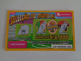 Loterie Lottery Loteria Lotaria Instant Instantânia Raspadinha Jogo Nº 110 Portugal-Angola Seleção No Mundial Portugal - Loterijbiljetten