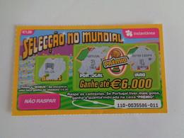 Loterie Lottery Loteria Lotaria Instant Instantânia Raspadinha Jogo Nº 110 Portugal-Irão Seleção No Mundial Portugal - Loterijbiljetten