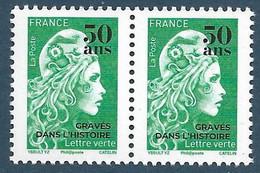 Marianne L'Engagée Surchargée 50 Ans Gravés Dans L'histoire - Paire (2020) Neuf** - Unused Stamps