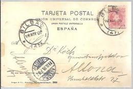 CARD  1908 BILBAO A ALTONA -- ELBE - Cartas