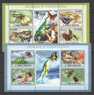 NS411-2 2007 S.TOME & PRINCIPE FAUNA ANIMALS & BUTTERFLIES SCOUTING !!! 2KB MNH - Farfalle