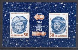 Bulgaria 1983 -20th Anniversary Of A Woman's First Space Flight, Mi-Nr. Bl. 134, MNH** - Nuevos