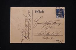 ALLEMAGNE / BAVIERE - Carte De Correspondance Pour Aschaffonburg En 1920 - L 91823 - Briefe U. Dokumente