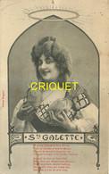 Editeur Bergeret, Ste Galette, Jeune Femme Avec Sacs D'argent Devant Les Seins, Carte Pas Courante - Bergeret