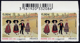 FRANCE Adhésif Année 2009 N° 370 En Paire Peintre HANSI (Jean-Jacques WALTZ) - Luchtpost